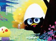 Disegno di un pulcino nero con un guscio d'uovo in testa