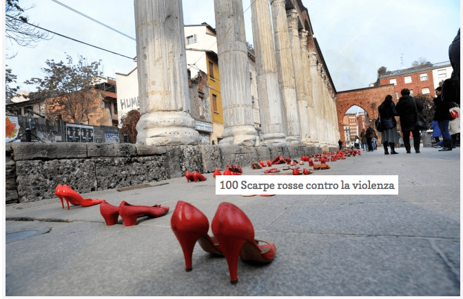 100 scarpe rosse contro la violenza