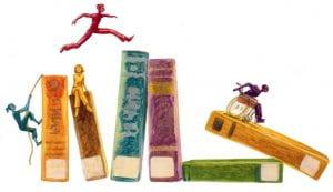 Vignetta rappresentante figurine umane su dei libri