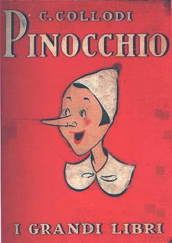 Copertina del libro Pinocchio con volto di un burattino con il naso lungo