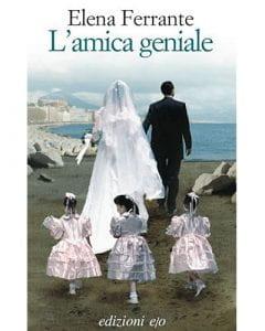 Copertina del libro di Elena Ferrante, coppia di sposi di spalle seguiti da tre bambine