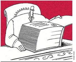 Una vignetta che rappresenta un uomo con la testa piccola davanti a un libro enorme