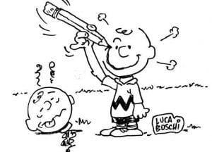 pupazzo con matita che disegna se stesso sorridente. Testa a terra di pupazzo triste