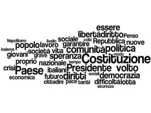 una nuvola fatta di parole concernenti il tema della Costituzione