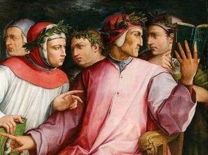 Dipinto di Dante tra quattro uomini
