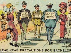 """Vignetta umoristica irlandese che si intitola «Leap Day Precautions for Bachelors"""""""