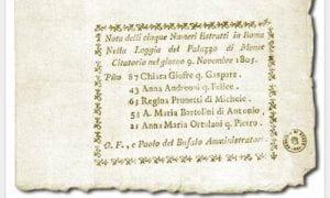Nota con numeri estratti a Roma il 9 novembre 1805