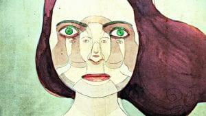 Dipinto astratto di un volto di donna contenente un altro volto.