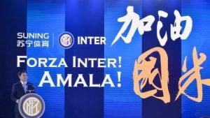 Manifesto cinese con la scritta Forza Inter.