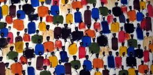 dipinto di persone di colore in abiti variopinti