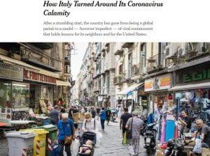 Foto di una strada italiana ripresa dalla pagine del New York Times.
