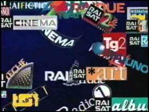 Poster con scritte come cinema, RAO Tg2 TG1