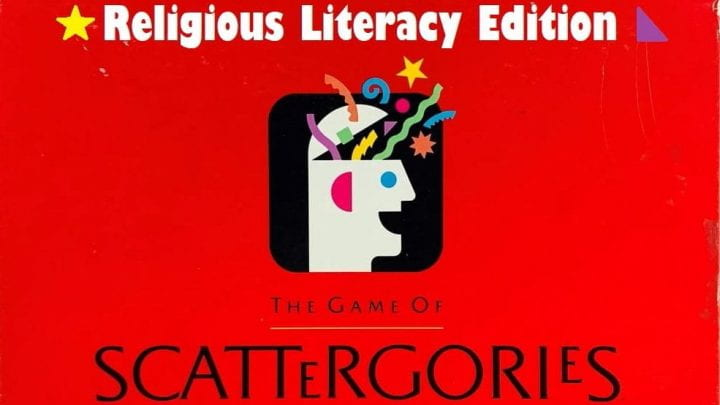 Red game box that says Scattergories Religious Literacy Edition