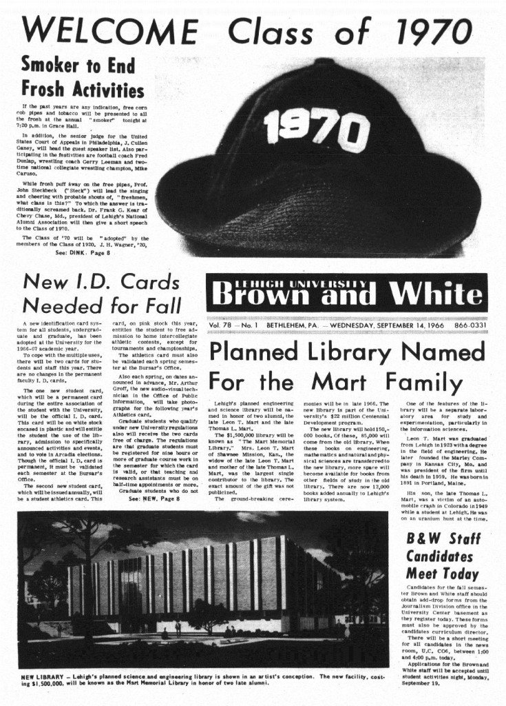 Front page of Brown and White, 9/14/1966