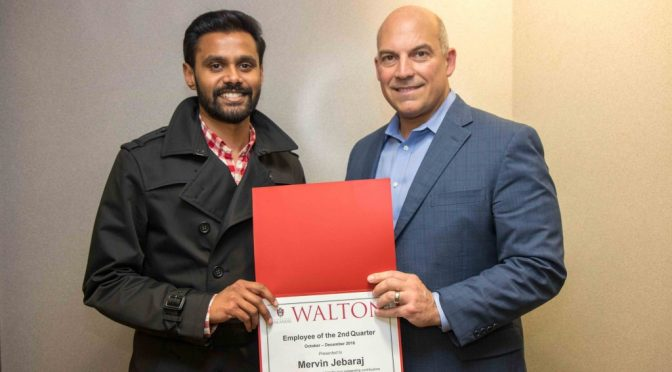 Jebaraj Named Employee of the Second Quarter by Walton College