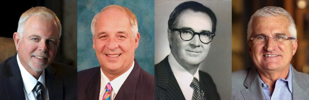 "The inductees of the 2018 Arkansas Business Hall of Fame are (l-r) James ""Jim"" A. Bottin, the late John D. Correnti, the late Herbert H. McAdams II and James ""Kirk"" Thompson."
