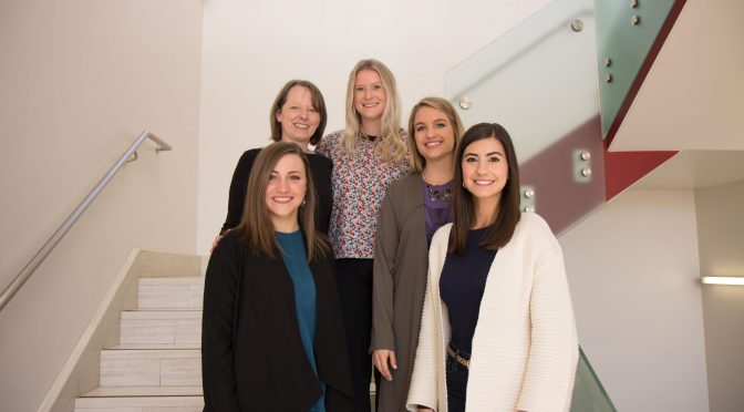 The team from General Mills is joined by Molly Rapert, associate professor, Department of Marketing (second from left), and includes (l-r) Kailey Reynolds, business category associate; Kalyn Carroll, business management associate; Shelby Mohs, business category lead; and Sophia Waller, trade planning associate.