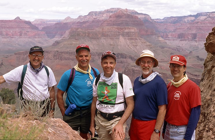 Former professors and friends, (l-r) Jim Millar, Tom McKinnon, Don White, Bill Curington and Joe Ziegler hike the Grand Canyon after attending spring commencement in 1994. The group made the trek for several years in the early 1990s.
