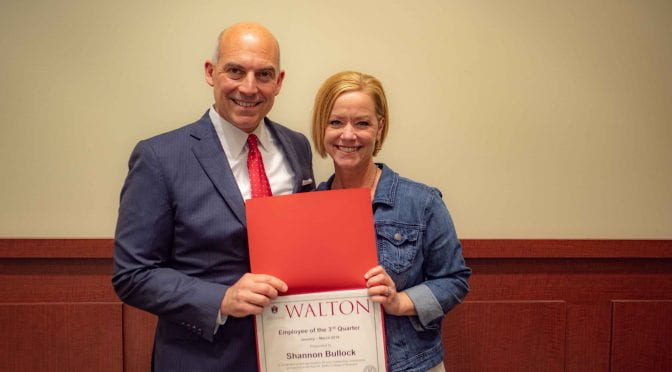 Bullock Selected as Walton College Employee of the Quarter