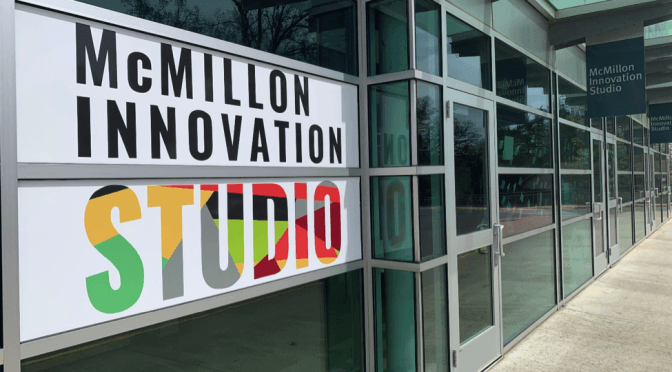The McMillon Innovation Studio is located in the Harmon Garage on campus.