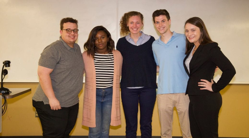 The winning team of Dos Caras consisted of students Bobbi Thompson, Chase Punko, De'stani Clark, Mohamad Abutaleb and Ashley Grizzle.