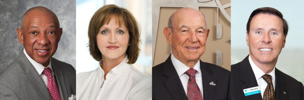 2020 Arkansas Business Hall of Fame inductees (l-r) Gerald Alley, Olivia Farrell, Charles Nabholz and Reynie Rutledge.