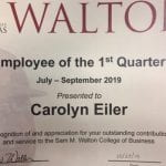 Carolyn Eiler was selected as the employee of the first quarter for 2019.