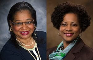 At a recent AACSB conference, Barbara Lofton (left) and Elecia Smith (right) presented a workshop on how to alleviate stress.
