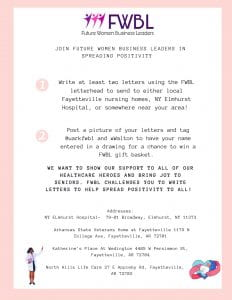 Future Women Business Leaders letter-writing campaign instructions.