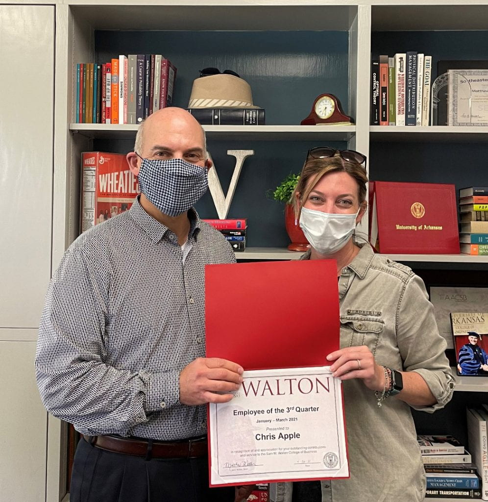 Apple Selected as Walton College Employee of the Quarter