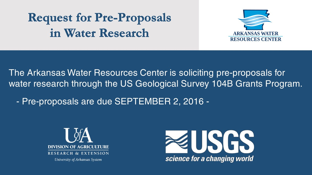 Water Research Faculty Invited to Submit Pre-Proposal for 104B