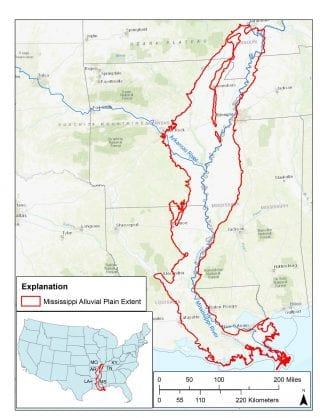 Map of the extent of coverage of the Mississippi Alluvial Plain.