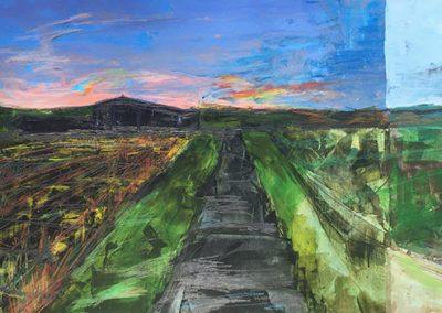 Hannah Moll, Field B4 – 7:00 AM Triptych (detail), 2017.