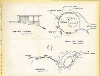 National Park Service Plan, ca. 1964, for the East Overlook at Pea Ridge National Park; Mission 66-era photos of the park.