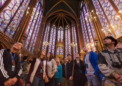 Students experience the Gothic glories of Louis IX's Sainte-Chapelle in Paris