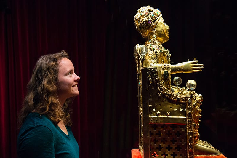 Tenley Getschman eyes the bejeweled reliquary of St. Foy