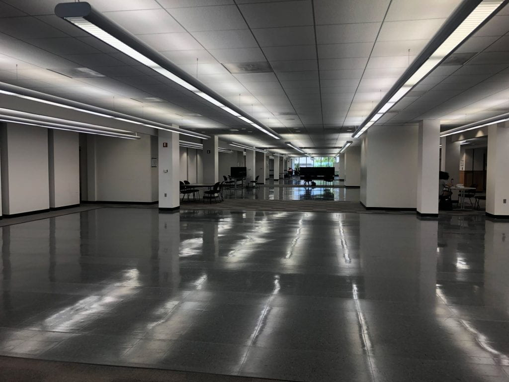 Empty section in Mullins Library