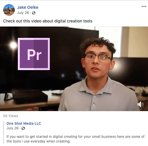 Screenshot of a video featuring Oelke about digital creation tools that was shared on Facebook