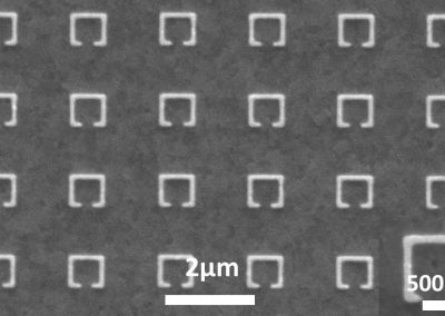 100 nm width metallic split ring resonator array