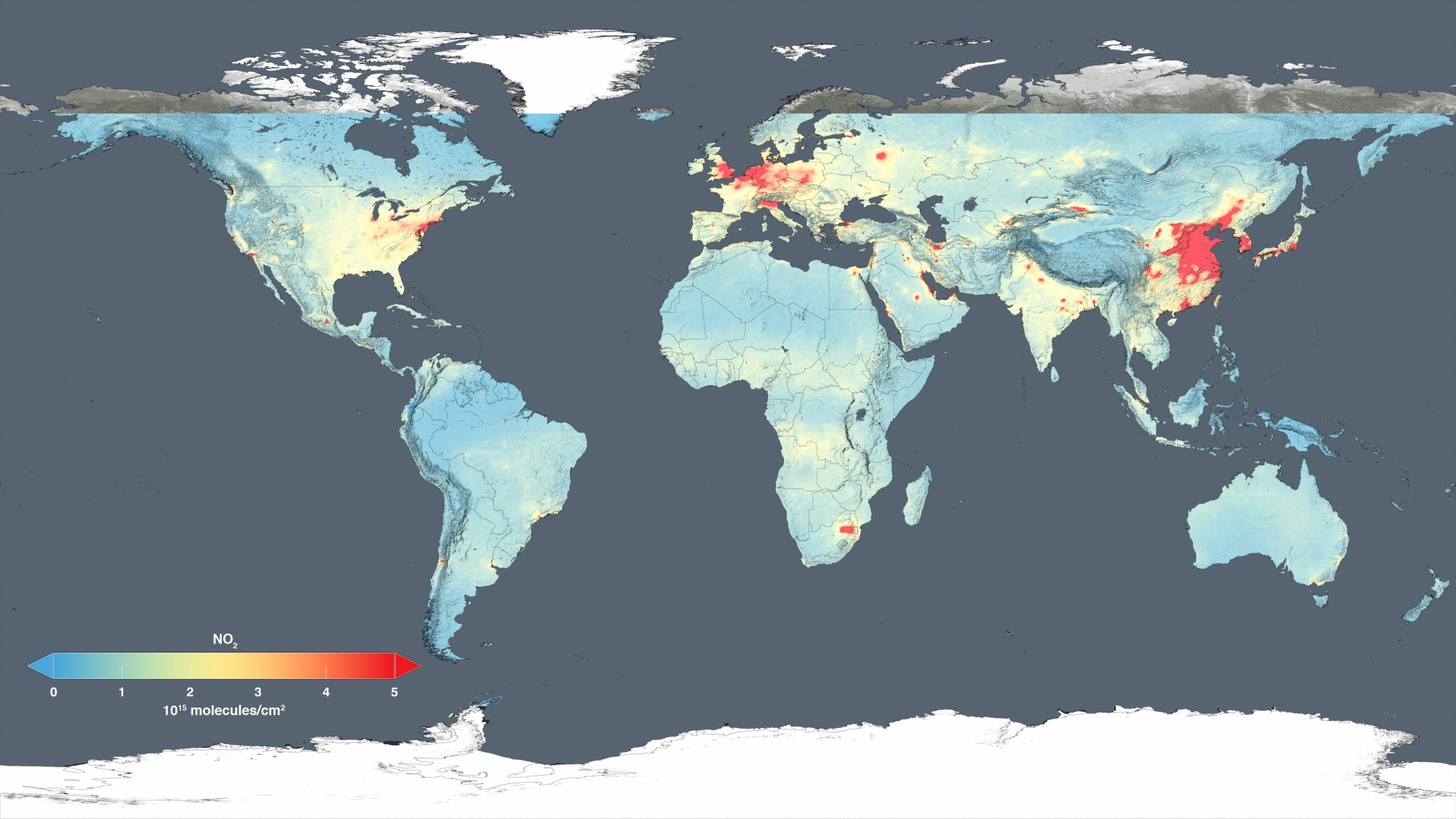 A map of global air pollution - one of the many negative externalites due to the fossil fuel industry
