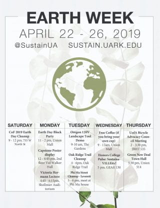 The Earth Week 2019 Schedule of Events calendar.