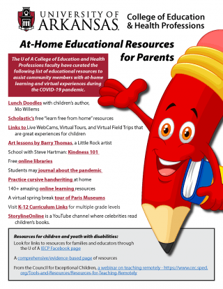 U of A Educational Resources poster for the COVID-19 period, updated March 30, 2020