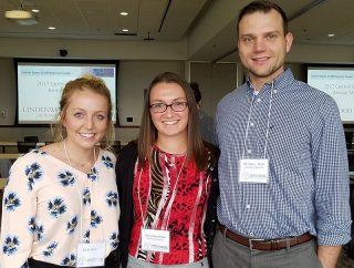 Sarah Ramey, from left, Samantha Mohler and Cory Butts all won their categories in the student research competition.