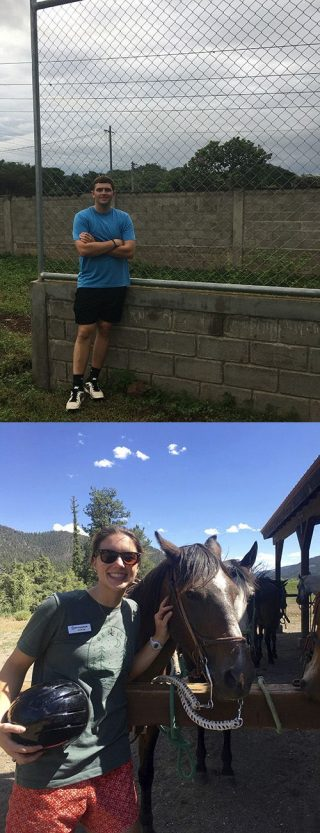Jake Smith, top, stands in front of a baseball field at a school in Nicaragua where he helped build a backstop. Madeline Wagnon pauses by a horse while working at Sky Ranch Ute Trail camp in Colorado.