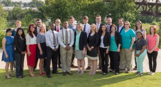 Arkansas Teacher Corps fellows started their training June 17 in Little Rock. They are from left, Victoria Le, Jordan Holtby, Mia Pereya, Emilianne Slamons, Caleb Rose, Lindsey Trahan, Aaron Mickens, Phillip Blake, Dennis Felton Jr., Casey Jenkins, Candace Taylor, Michael Zust, Phoebe Cooper, Adam Sweatman, Sara Osuna, Steven Bonds, Randi Henderson, William Chesher, Ashley Higginbotham, Brittney Chesher, Meyshana Lunon and Kathryn Ward. Photo by Jacob Slayton