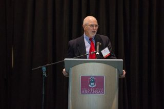 Les Carnine speaks at this year's luncheon for benefactors and scholarship recipients.