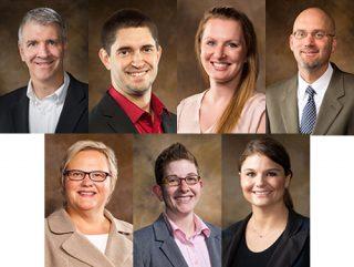 From above left: Sean Connors, Nicholas Greene, Erin Kern Popejoy, Gary Ritter; bottom, Peggy Schaefer-Whitby, LJ Shelton, Sarah Stokowski.