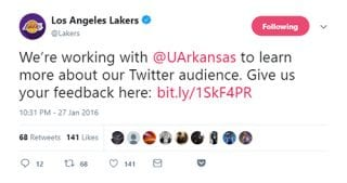 The Lakers organization tweeted the survey from University of Arkansas researchers to its Twitter followers.