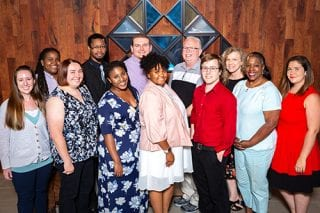Back row: Iesha Green, Rashad Carswell, Pate Bauldree, Michael Townsend, Stephanie Beckler. Front row: Elizabeth Britting, Molly Kopplin, Wendy Miya, Brianna Sheely, Jason Curlin, Michelle Joyner, Laura White.
