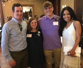 Jaclyn Johnson and Nick Hopkins, center, are pictured with their spouses, Jordan Johnson and Madison Hopkins.